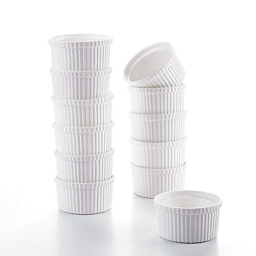Malacasa 12-Piece Ivory White Porcelain 4.3 (10.5oz) Ramekins Souffle Dishes Dipping Bowls Baking Dish Set