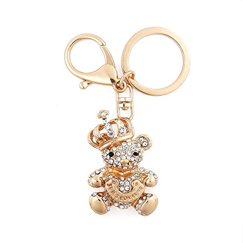 USATDD Rhinestone Keychain Crystal Pendent Clothing Accessories Handbag Decoration Sparkling Keyrings With Gift Box (Crown Bear)