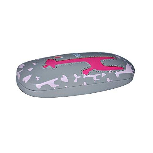 EQLEF® Coque rigide Amour cerfs lunettes de bande dessinée cas des lunettes de lecture artificielle boîte de lunettes en cuir (gris)
