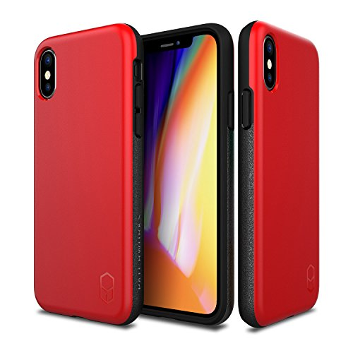 PATCHWORKS Level ITG Case in Red Compatible for iPhone X One Piece TPU PC Hybrid Dual Material Matte Finish Side Grip with Added Air Pocket and Drop Tested Hard Cas