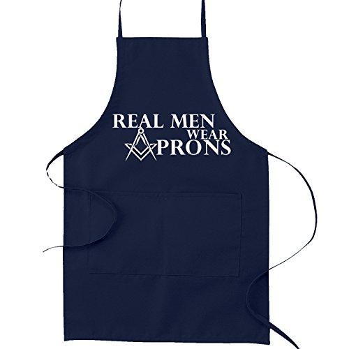 (Real Men Wear Aprons Masonic Cooking Kitchen Apron - [Navy Blue] )