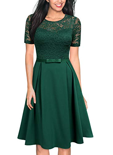 MISSMAY Women's Vintage Floral Lace Scoop Neck Short Sleeve Cocktail Party Swing Dress Large Dark Green