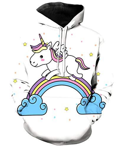 KIDVOVOU Unicorn Hoodie Kids Unisex 3D Digital Print Pullover Sweatshirt,Run Unicorn,11-12 ()
