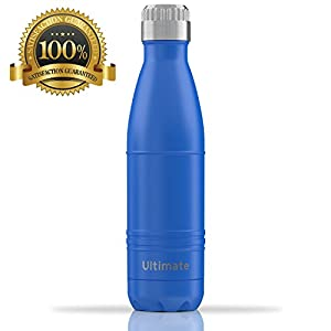 Ezisoul Insulated Stainless Steel Sports Water Bottle - No Leaks, Sweating or Toxins - 17oz - Matte Blue