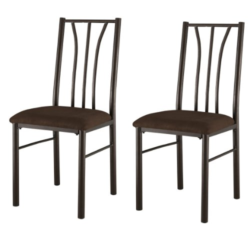 Kings Brand Furniture - Metal With Microfiber Seats Dining Kitchen Side Chairs, Set of 2 ()