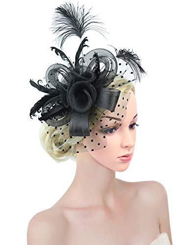 Z&X Fascinator with Headband Clip Cocktail Tea Party Feather Floral Pillbox Hat Black (Fascinator 4- Black) -
