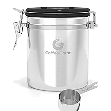 Coffee Canister by Coffee Gator With Built-in Valve - Free Stainless Steel Scoop - Keeps Flavor Locked With a Valve That Vents Away CO2 Gas - Premium Quality Bean Container