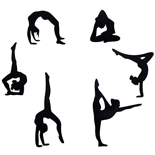 Sunm boutique Gymnastics Wall Decals, Silhouette Wall Sticker with Six Art Girl Vinyl Decals Wall Stickers for Home Wall Decor, Pack of 6