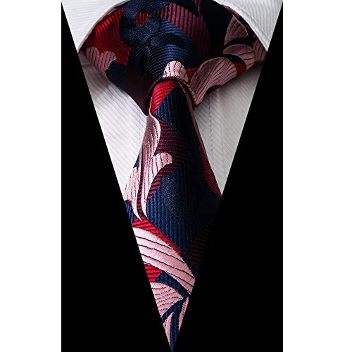Paisley & Plaid Tie Handkerchief Woven Classic Men's Necktie & Pocket Square Set (Pink,Navy,Black,DarkRed)