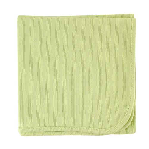 Green Baby Organic Cotton - Touched by Nature Organic Cotton Receiving Blanket, Celery, 40x40