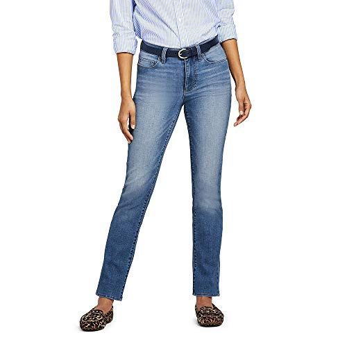 Lands' End Women's Mid Rise Straight Leg Jeans, 18 32, Blue Ash