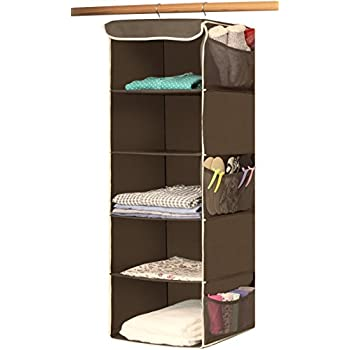Simple houseware 5 shelves hanging closet organizer bronze