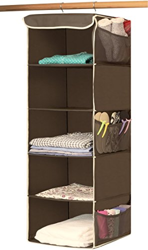 Simple Houseware 5 Shelves Hanging Closet Organizer, Bronze (Shelf Cedar 5)
