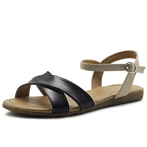 Ollio Women's Shoes Two Tone Cross Straps Ankle Buckled Flat Sandals S102