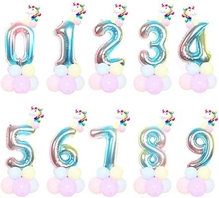 HHMao 1 Juego Unicornio Cumpleaños Globos 32 Inch Arcoiris ...