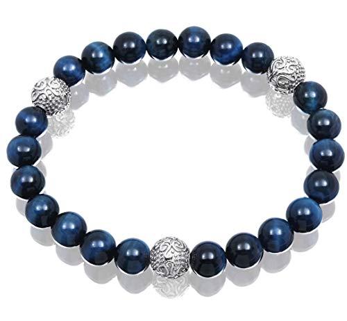 COOLUXU Blue Tiger Eye Bracelet for Men Bead Bracelet for Men 8mm Natural Stone Yoga Bracelet from COOLUXU