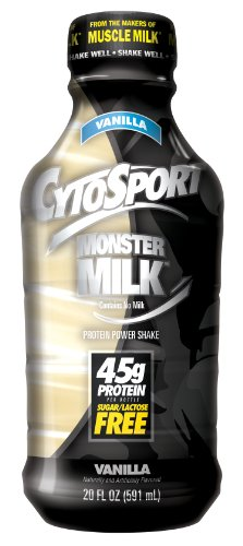CytoSport Monster Milk Ready-To-Drink Protein Power Shake, Vanilla, 20 Ounce, Pack of 12
