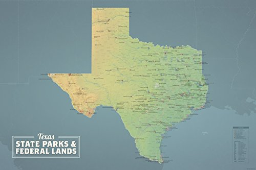 Texas State Parks & Federal Lands Map 24x36 Poster (Natural - City Creek Center Map