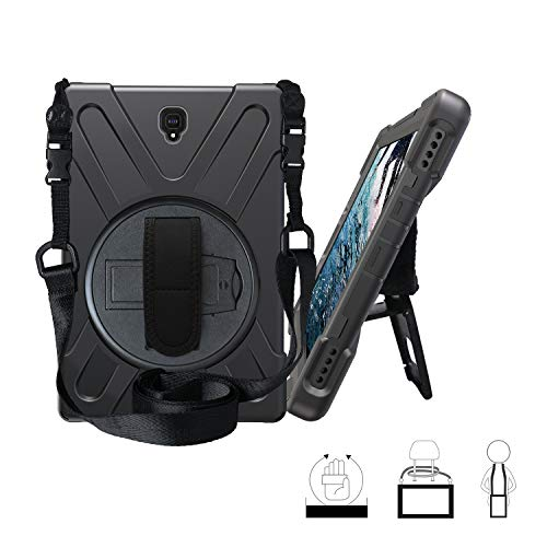 Galaxy Tab S4 10.5 Case, Hybrid Three Layer Heavy Duty Protective Case with Hand Strap, Shoulder Strap & 360 Rotating Kickstand for Samsung Galaxy Tab S4 10.5 Inch 2018 SM-T830 / T835 - Black (Samsung Galaxy Tab S Poetic)
