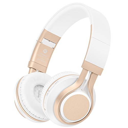 Bluetooth Headphones with Mic, HiFi Stereo Foldable Lightweight Wireless Headphones with Comfortable Protein Earpads, Noise Isolation, TF Card Mode, FM Radio Mode for PC TV Smartphone (White Gold) ()