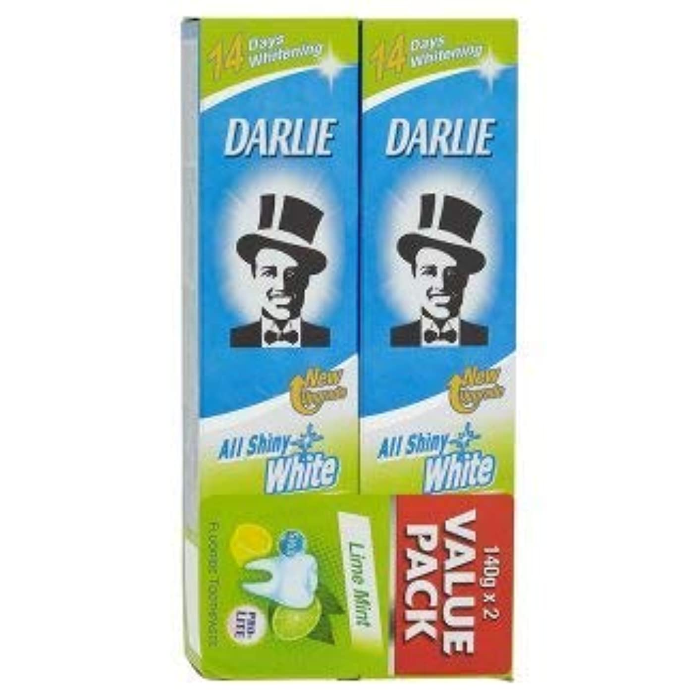 報復するいくつかの小説家DARLIE 2つの電力可溶性汚れや緩やかな歯のホワイトニングを提供する新しいデュアルホワイトニングシステム - 全光沢のある白ライムミント140グラム値パックX2を歯磨き粉