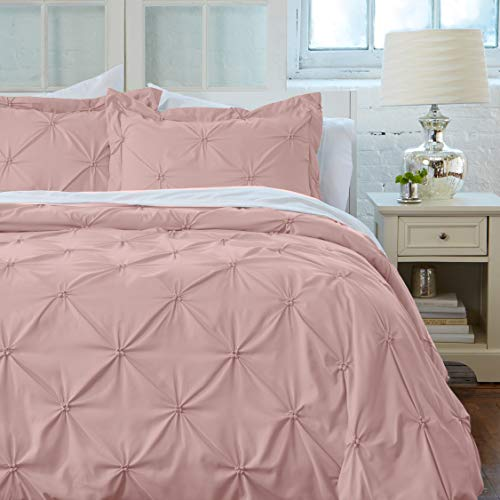 Great Bay Home Signature Pinch Pleated Pintuck Duvet Cover with Button Closure. Luxuriously Soft 100% Brushed Microfiber with Textured Pintuck Pleats and Corner Ties (Full/Queen, Rose Smoke) Bay Duvet Cover Set