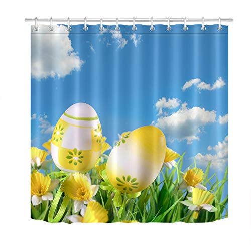 LB Unique Design Spring Shower Curtain Happy Easter Theme with Blue Sky Green Yellow Floral Egg Decor Shower Curtain 60x72 Inch Waterproof Anti Mould Fabric with 10 Hooks