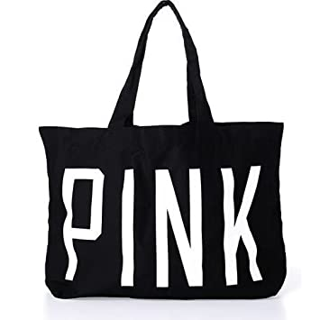 3b15838d1288 Image Unavailable. Image not available for. Color  Victoria s Secret PINK Oversized  BLACK Limited-Edition Tote ...