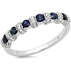14K Gold Round Blue Sapphire And White Diamond Bridal Stackable Wedding Band Anniversary Ring