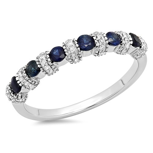 14K White Gold Round Blue Sapphire & White Diamond Bridal Wedding Band Anniversary Ring (Size 6)