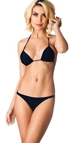 THE MESH KING Coqueta Swimwear Women Sexy Bottom Teeny Brazilian Bikini Thong Swimsuit Set-Black