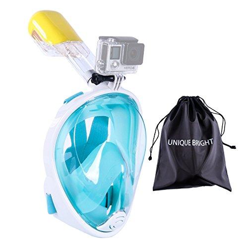 Schnorchel Maske, Full Face Maske Schnorcheln 180-Grad-Sichtfeld trocken Schnorchel und Anti-Fog-Technologie Freie Atem Design-Fit für Kinder und Erwachsene (Grün?S/M)