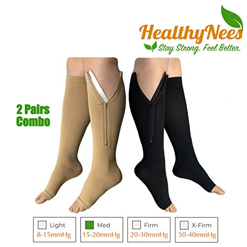 HealthyNees 2 Pairs Combo Zipper Compression Medical Grade Leg Calf Relief Swelling Circulation Support Socks (4XL) ()
