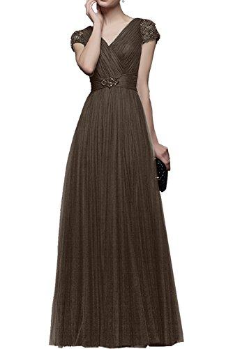 Promkleider Langes Braun La Festlichkleider Abendkleider a Prinzess linie Tuell Kurzarm Partykleider Lang mia Braut Rosa Rock qqnFUZt8
