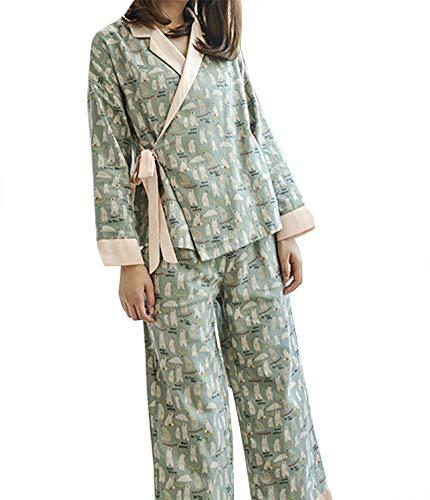 08944514ed QZUnique Women s Cotton Sleepwear Long-sleeves Autumn Pajamas Set Kimono  Robe with Oblique V-