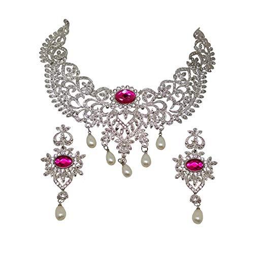 SAIYONI Women's Austrian Diamond Rhodium Plated Necklace Set