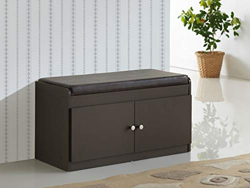 Baxton Studio Margaret Modern & Contemporary Wood 2-Door Shoe Cabinet with Faux Leather Seating Bench, Dark Brown (Shoe Bench Cabinet)
