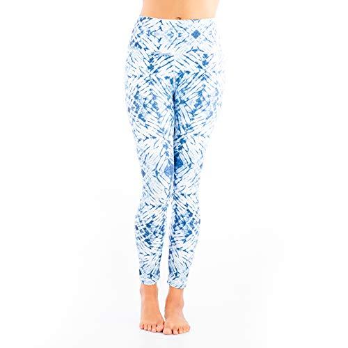 Clever Yoga Blue Tie Dye Women Gym Leggings - Large Size (Best Way To Set Tie Dye)