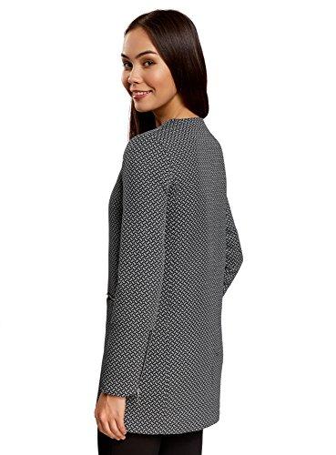 oodji Ultra Mujer Abrigo con Cremallera sin Cuello Negro (2910M)