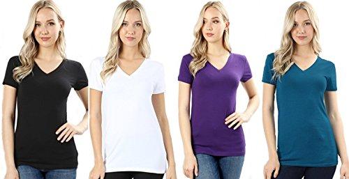 4 Pack Zenana Women's Basic V-Neck T-Shirts Small Black, White, Purple, Teal (Best T Shirt Sayings)