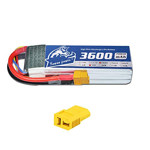 YOWOO 4S Lipo Battery 3600mAh 35C 14.8V RC Lipo Batteries with XT60 / Deans Style T Plug for RC Evader BX Car Truck Truggy Airplane UAV Drone FPV Hangar 9 Christen Eagle II 90 (14.8v 3600mah)