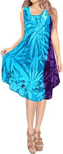 LA LEELA Women's Midi Beach Dress Casual Loose Swing Sundress US 14-20W Blue_M47