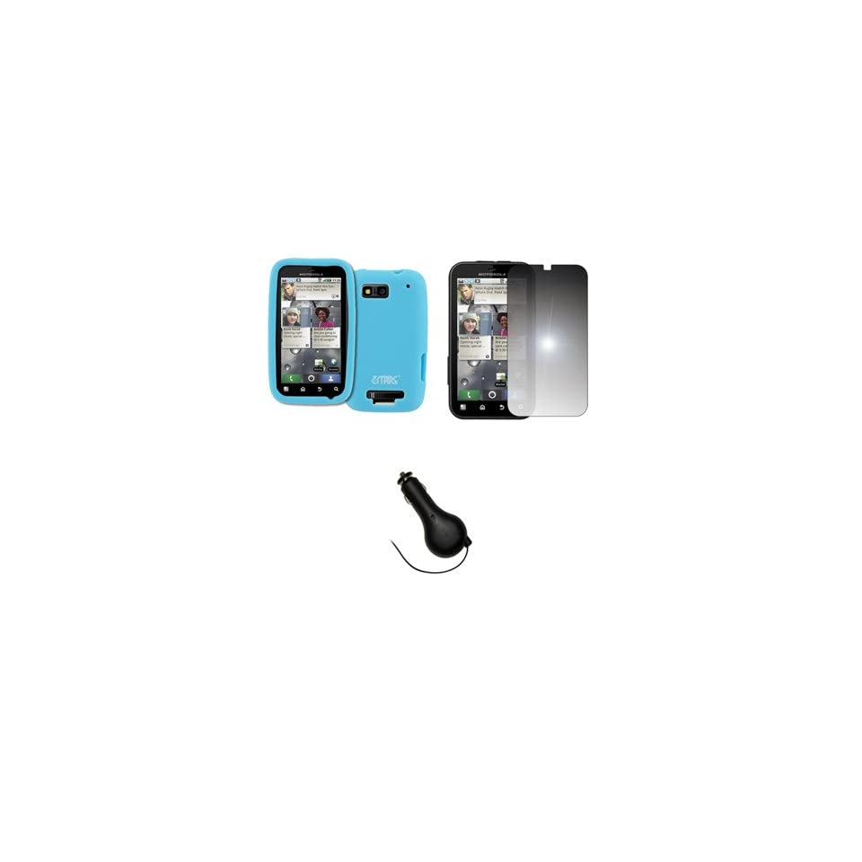 EMPIRE Light Blue Silicone Skin Case Cover + Mirror Screen Protector + Retractable Car Charger (CLA) for T Mobile Motorola Defy MB525