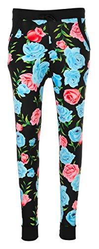 Michael Floral Print - Linda Michael Joggers for Women with Pockets; Assorted Print Women Joggers Blue/Pink Floral 2X / 3X