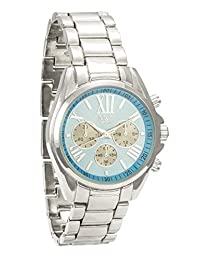 M&c Ferretti Women's | Silver Chronograph Sky Blue Midi Dial Watch | FT14501