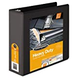 Heavy-Duty D-Ring Vinyl View Binder, 3'' Capacity, Black, Total 8 EA, Sold as 1 Carton