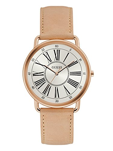 Guess Pink Leather Strap - Guess Women's Stainless Steel Leather Classic Watch, Color Pink/Rose Gold-Tone (Model: U1068L5)
