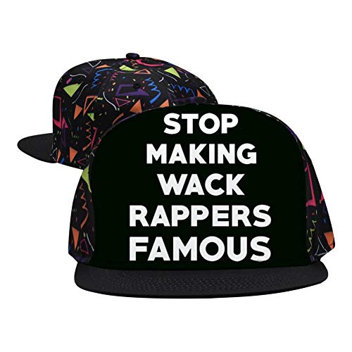 HSOne Stop Making Wack Rappers Famous Fashion Printed Hip Hop 3D Embroidered Lovers Couples Snapback Caps Adjustable Unisex Black]()