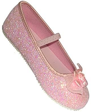 Zapatos de lentejuelas para niña (9-10 años, talla 33-34), color rosa
