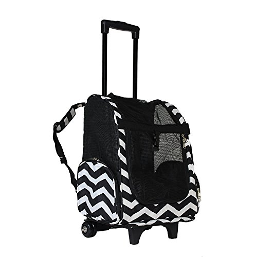 lcm portable small pet carrier backpack with wheels carry on mesh luggage black and white chevron. Black Bedroom Furniture Sets. Home Design Ideas